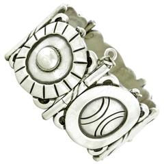 "Hector Aguilar ""Aztec Symbol"" Sterling Cuff Bracelet"