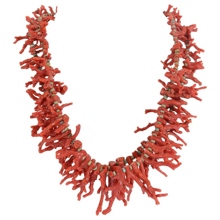 Native American Branch Coral and Turquoise Necklace