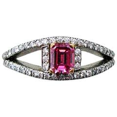 Natural Fancy Vivid Purplish Pink Diamond Platinum Ring