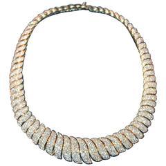 45 Carats Pave Diamonds Gold S-Link Necklace