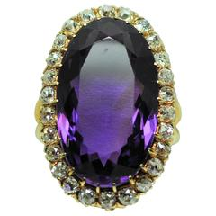 Antique Amethyst Diamond Gold Ring