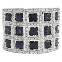 Diamond Sapphire and White Gold Ring