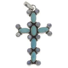 Art Nouveau Silver Cross Pendant with Turkuoises and Moonstones