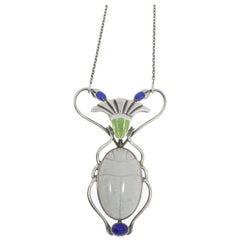 Art Nouveau Opal Silver Scarab Pendant