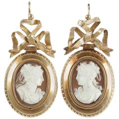 19th Century French Gold Cameo Drop Earrings