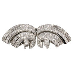 Tiffany & Co. Art Deco, Diamond Platinum Double Clip Brooch