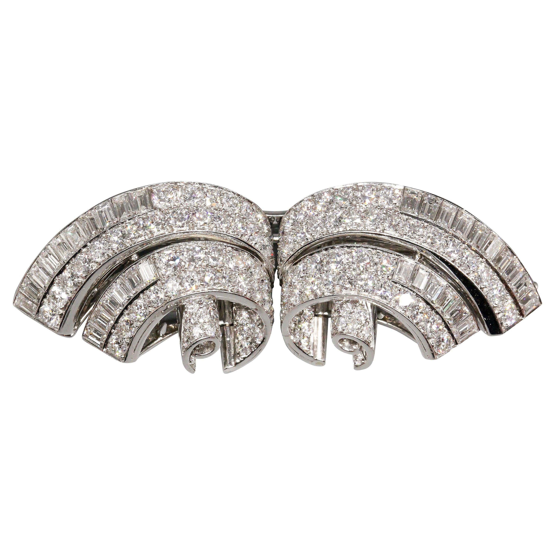 Tiffany & Co. Art Deco, Diamond Platinum Double Clip Brooch