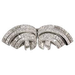TIFFANY & CO. Art Deco. Diamond Platinum Double Clip Brooch