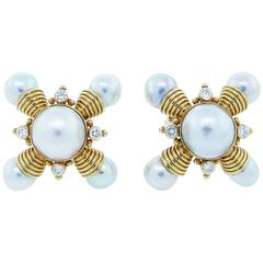 Elizabeth Gage Pearl Diamond Gold Statement Earrings