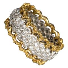 Buccellati Diamond Gold Platinum Band Ring