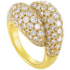 Van Cleef & Arpels Diamond Pave Gold Bypass Ring