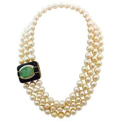 1980s Custom Triple Row Freshwater Baroque  Pearls and Onyx Jade Gold Clasp