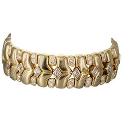 Rene Boivin Diamond Gold Bracelet with Deployment Clasp