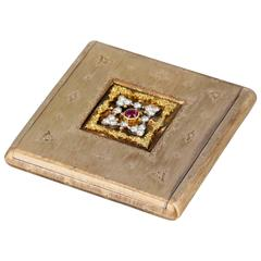 1930s Buccellati Art Deco Ruby Diamond Gold Compact