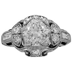 Art Deco 1.08 Carat Diamond Platinum Engagement Ring