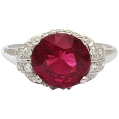 Vintage Rhodolite Garnet  Diamond PLATINUM Ring