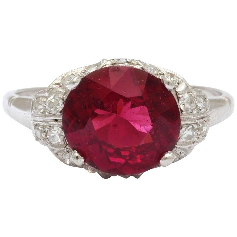Vintage Rhodolite Garnet  Diamond PLATINUM Ring   For Sale