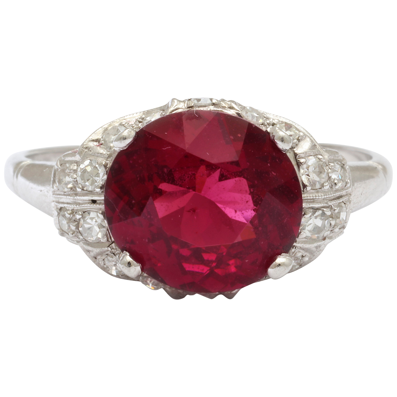 Vintage Rhodolite Garnet  Diamond PLATINUM Ring