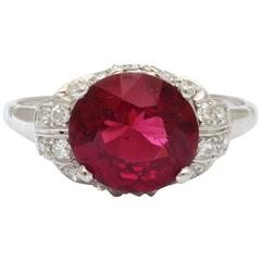 Rhodolite Garnet  Diamond PLATINUM Ring