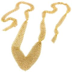 Tiffany & Co. Elsa Peretti Gold Mesh Bib Necklace