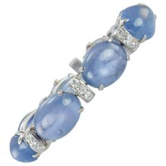 1930s Seaman Schepps Sapphire Cabochon Diamond Platinum Bracelet