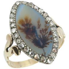 Georgian Moss Agate and Diamond Navette Ring