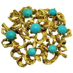 1960s Italian Turquoise Gold Textured Brooch