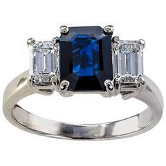 Emerald-Cut Blue Sapphire and Diamond Three-Stone Ring