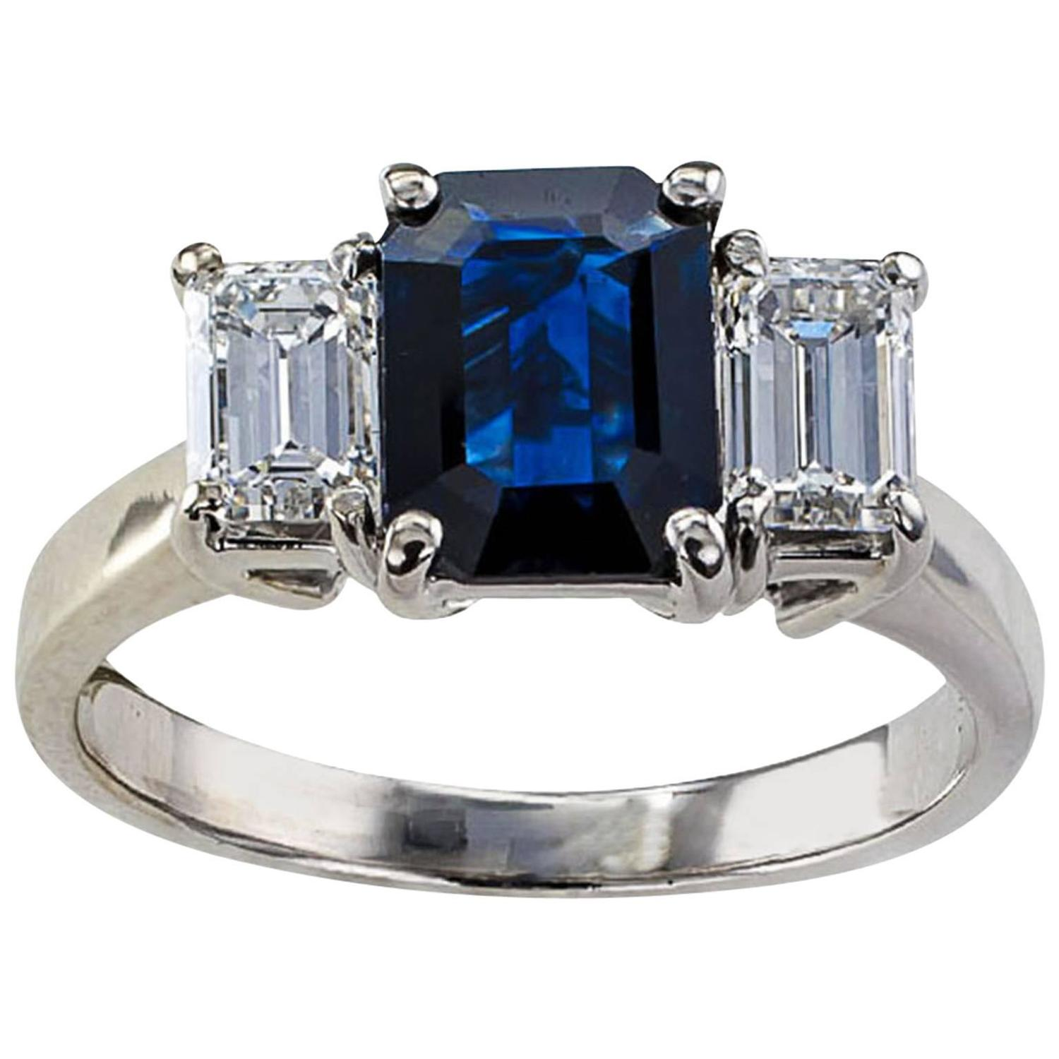 Emerald Cut Blue Sapphire And Diamond Three Stone Ring For