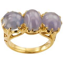 Arts and Crafts Star Sapphire Three-Stone Ring