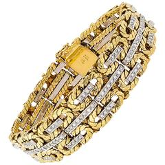 1970s Two-Tone Gold and Diamond Bracelet