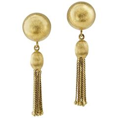 1960s Gold Swinging Ball and Tassel Ear Clips