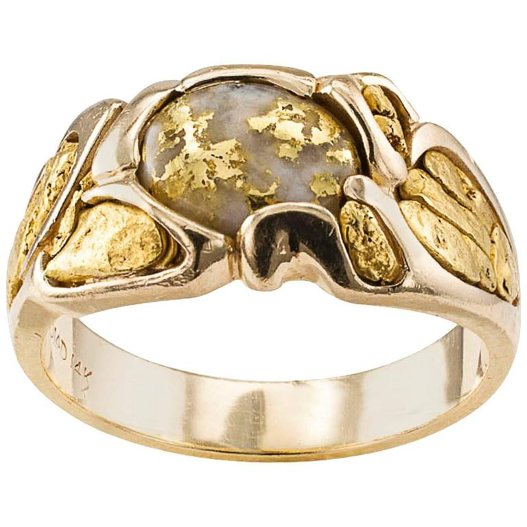 Gold Quartz and Gold Nugget Ring