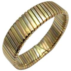 Bulgari Tubogas Three Color Gold Bracelet.