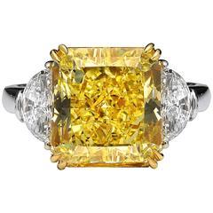4.70 Carat GIA Cert Fancy Intense Yellow Diamond Gold Platinum Three Stone Ring