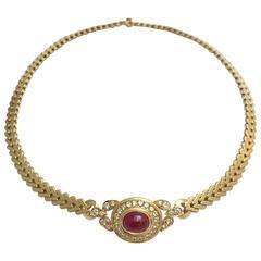 Cartier Ruby Diamond Gold Necklace