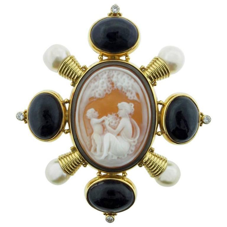 1990's Elizabeth Gage Cameo Pearl Amethyst Diamond Gold Brooch