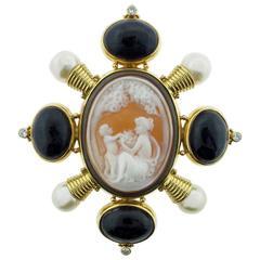 1990s Elizabeth Gage Cameo Pearl Amethyst Diamond Gold Brooch