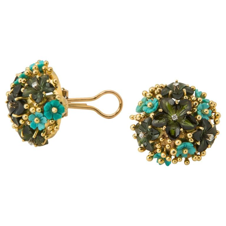 Tiffany & Co. Tourmaline Turquoise Yellow Gold Earrings