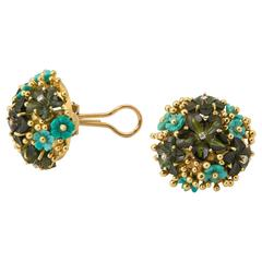 Tiffany & Co. Tourmaline Turquoise Gold Earrings