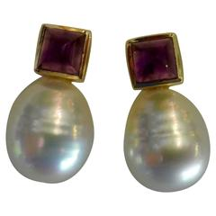 Paspaley South Sea Pearl Sugarloaf Cabochon Amethyst Gold Stud Earrings