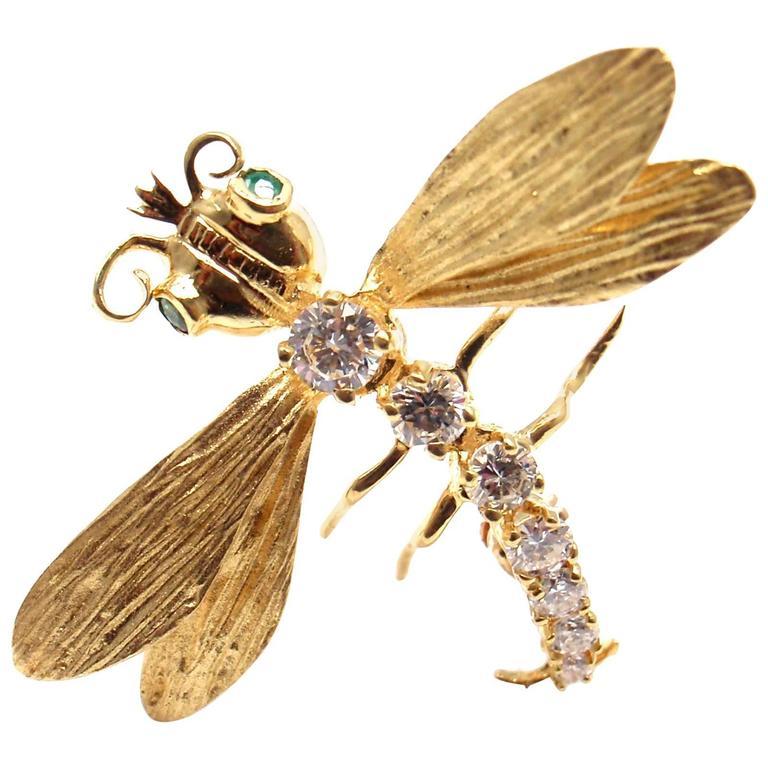 Herbert Rosenthal Diamond Gold Dragonfly Pin Brooch