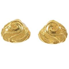Elizabeth Gage Granulated Gold Earrings