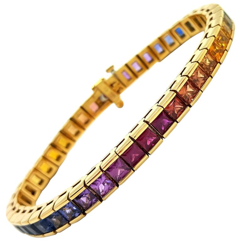 Magnificent Rainbow Sapphire Gold Tennis Bracelet At 1stdibs