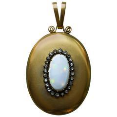 Victorian Large Opal Diamond Gold Locket