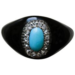 1900s Black Enamel Turquoise Diamond Gold Ring