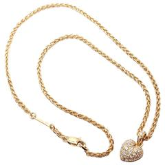 Cartier Diamond Gold Heart Pendant Necklace