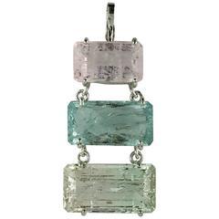 Three Emerald Cut Beryls East-West Pendant in Sterling Silver