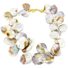 Gemjunky Dramatic Chic One-of-a-Kind Irridescent Real Keshi Pearl Necklace