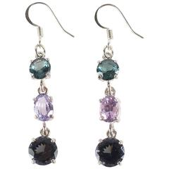 Dangling Sparkling Three Stone Spinel Earrings